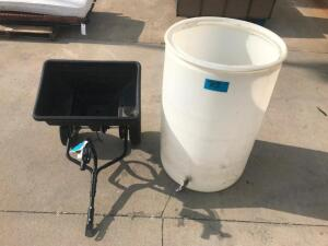 55 gal. Rain Barrel, Pull Behind Broadcast Spreader