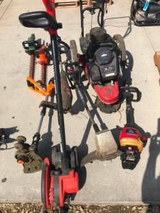 (2) Hedge Trimmers, Electric Edger, (3) String Trimmers, Walk Behind Trimmer