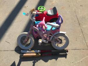 Schwinn Girls Bike, (2) Kids Cars, (2) Baseball Bats
