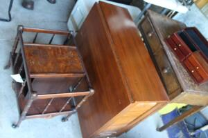 Magazine rack, folding dining table with chairs inside, Vintage makeup desk with folding mirror
