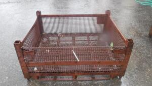 "HEAVY DUTY INDUSTRIAL STEEL WIRE BASKET, MEASURES APPX 54"" LONG X 44"" WIDE X 25"" TALL"