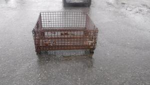 "HEAVY DUTY INDUSTRIAL STEEL WIRE BASKET, MEASURES APPX 40"" LONG X 32"" WIDE X 38"" TALL"