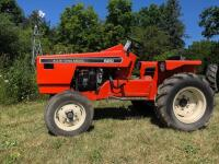 Allis-Chalmers 620 with belly mower and rear rototiller, motor free but not running