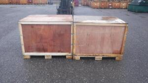 "LOT OF (2) WOOD SHIPPING CRATES WITH LIDS, APPX MEASURES 48"" WIDE X 40"" DEEP X 38"" TALL"