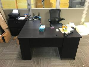 Office Desk with Chair, 2 Drawer Cabinet, Epson Printer