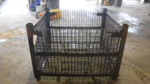"HEAVY DUTY INDUSTRIAL STEEL WIRE BASKET, MEASURES APPX 53"" LONG X 48"" WIDE X 38"" TALL"