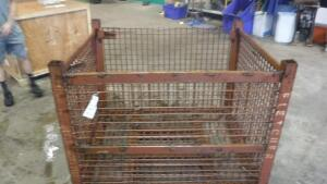 "HEAVY DUTY INDUSTRIAL STEEL WIRE BASKET, MEASURES APPX 53"" LONG X 44"" WIDE X 43"" TALL"