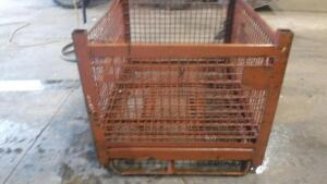 "HEAVY DUTY INDUSTRIAL STEEL WIRE BASKET, MEASURES APPX 54"" LONG X 44"" WIDE X 40"" TALL"