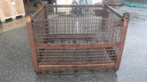 "HEAVY DUTY INDUSTRIAL STEEL WIRE BASKET, MEASURES APPX 54"" LONG X 44"" WIDE X 41"" TALL"
