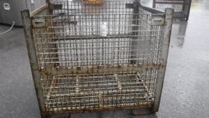 "HEAVY DUTY INDUSTRIAL STEEL WIRE BASKET, MEASURES APPX 54"" LONG X 44"" WIDE X 50"" TALL"