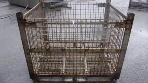 "HEAVY DUTY INDUSTRIAL STEEL WIRE BASKET, MEASURES APPX 54"" LONG X 44"" WIDE X 43"" TALL"
