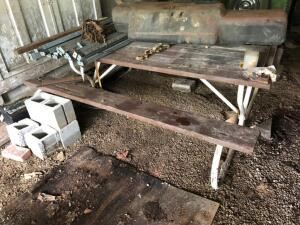 Picnic Table and Contents, includes gas tank, framing and concrete blocks