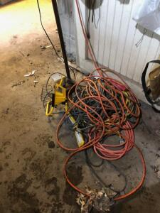 Work Light and Extension Cords and floor lamp