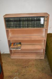 Wood Book Shelf with Books
