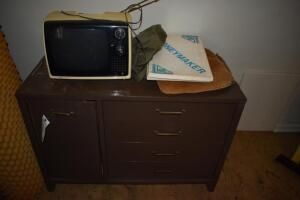 Wood Dresser with Contents and TV