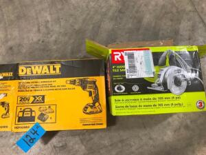 "4"" Hand Held Tile Saw and Brushless Drywall Screwgun Kit"