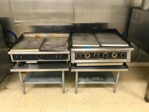 (2) Commercial Grills with Stainless Tables