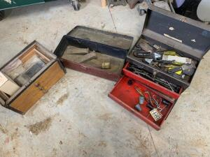 3 tool boxes with misc tools