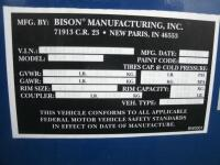 2000 Bison Trailer, VIN # 43B16162XY1002630 - 2
