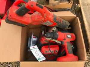 Box of Black & Decker Battery Operated Tools, Leaf Blower