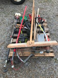 Pallet of String Trimmers, Chainsaws, Hand Tools