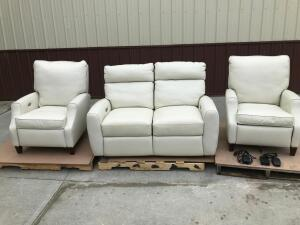2016 Custom American Crafted White Grade 5 Leather Furniture Electric Recline All Pieces Work