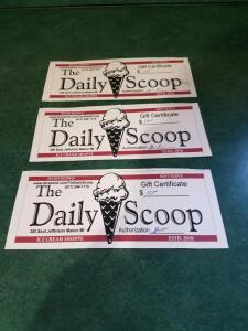 Daily Scoop Three $10 Gift Certificates- Donated by Daily Scoop