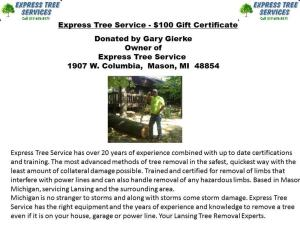 Express Tree Service $100 Gift Card- Donated by Express Tree Service