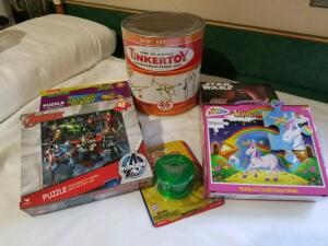 Toys: Tinkertoy Set, 8 Card Games, Duncan Yo-Yo- Donated by Friend of Optimist