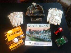 Greenstone Gift Bag Containing: Hat, Gloves, Calendar, Golf Balls, Pocket Knife, Tractor and Clip