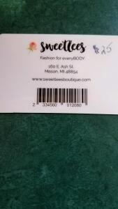 $25 gift certificate to Sweetlees- donated by Sweetlees