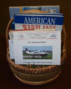 Airplane Gift Basket- (1) One Hour Airplane Flight Certificate and Various Airplane Books