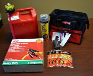 Craftsman Gift Bag- Gas Can, Booster Cables, Fix a Flat, Flashlight, and Hand Warmers