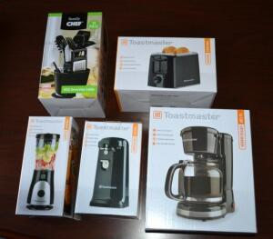 Kitchen Accessories- Toaster, Coffee Maker, Can Opener, Blender and 11 Piece Utensil Set