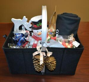 Commercial Bank Gift Basket- Holiday Decorations, Candy, Hot Chocolate, Throw and Snacks