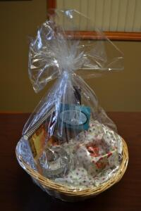 Salon Gift Basket- Bottle of Wine, Half Hour Massage, Recipe Book, Candle, Candies