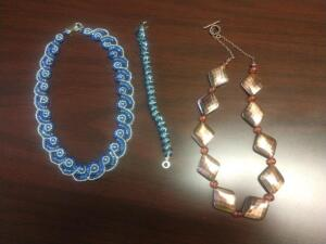 Taupe Spiral Necklace, Blue Bracelet and Copper Necklace- Donated by Friend of the Chamber