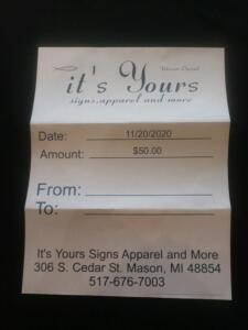 It's Yours $50 Gift Certificate- Donated by It's Yours