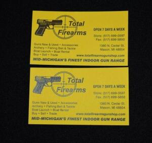 Two 1 Hour Shooting Range Certificates- Donated by Total Firearms