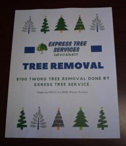 Express Tree Services $100 Tree Removal Gift Certificate- Donated by Express Tree Services