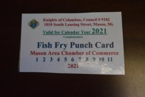 Knights of Columbus Season Fish Fry Punch Card- Donated by Knights of Columbus