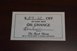 $29.62 Oil Change Gift Card to the Back Room- Donated by Friend of The Chamber