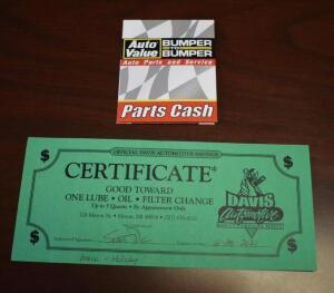 Davis Automotive Oil Change Gift Certificate and $5 Auto Value Gift Card