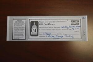 $50 Mason Area Chamber of Commerce Gift Certificate- Donated by Paper Image Printing