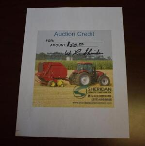 $50 Sheridan Realty & Auction Gift Certificate- Donated by Sheridan Realty & Auction