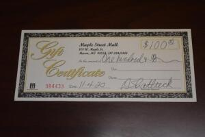 $100 Maple Street Mall Gift Certificate- Donated by Maple Street Mall