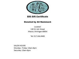 $50 gift certificate to Hair and Company Downtown