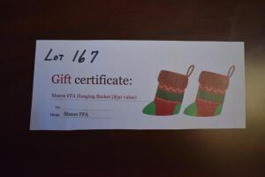 Gift Certificate for a Hanging Basket- Donated by The Mason FFA Chapter