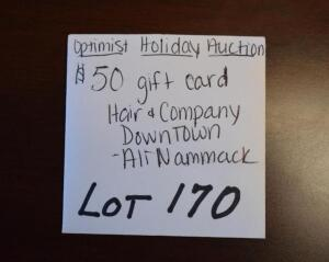 $50 Gift Card for Hair and Company- Donated by Ali Nammack