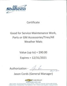 $90 Certificate for Service Maintenance Work, Parts or GM Accessories at Shaheen Chevrolet